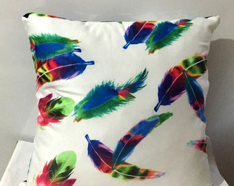 Feather Pillow Cover , Colorful Feather Print Pillow Cover , Floral Pillow Case, Neon Pillow Case, Two Sided Pillow