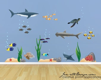 Kids Wall Decals,Removable and Repositionable Fabric Wall Decals, Under The Sea Fish Decals