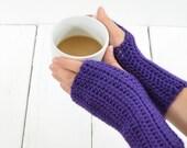 Hand Warmers Purple Crochet Wrist Warmers Knit Gloves .. Classic Hand Warmers FALL SALE