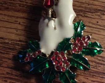 Vintage Christmas Candle & Holly  Pin Brooch