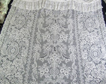"""Vintage White Lace Shower Curtain with Attached Balloon Valance 70""""w x 73"""" l"""