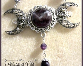Triple Moon Goddess Amethyst Necklace