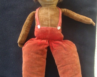 """Vintage NORAH WELLINGS: 17"""" cloth doll with overalls, nice vintage.  Made in England"""