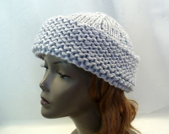 Light Gray Russian Style Hat - Hand Knit Winter Hat, Warm Wool Beanie, Cossack Hat, Wool Toque, Handmade in the USA, Ready to Ship