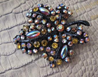 "1950's ART Arthur Pepper ""Mode-Art"" Signed Late 1950s Dragon's Breath, Tangerine & Deep Citrine Crystal Rhinestone LEAF Brooch Pin, JAPANNED"