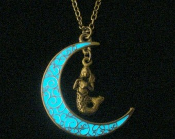 Moon And Mermaid Necklace Glow In The Dark Antique Silver (glows aqua blue)