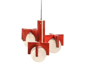 Socialist Design Ceiling Lamp / Chandelier Interior Lighting / Pendant Light / Red Wood Chrome / 70's Yugoslavia / Retro Lighting Industrial