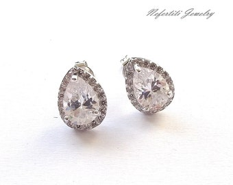cz bridal stud earrings, teardrop wedding earrings, crystal stud earrings, bridesmaid earings, cubic zirconia bridal earrings, cz earrings,