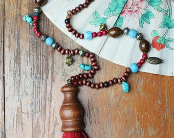 MEDEA leather tassel necklace - ooak statement necklace
