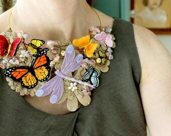 Bib Necklace, Butterfly Necklace, Statement Necklace Boho, Nature Jewelry, Avant Garde Necklace, One-of-a-Kind Necklace, Butterfly Jewelry