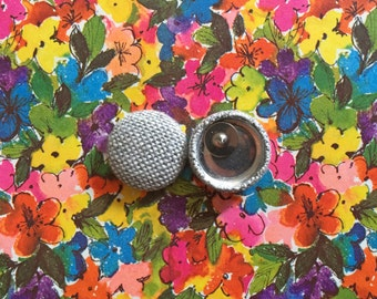 Fabric Covered Button Earrings / Gray Tweed / Wholesale Jewelry / Small Stud Earrings / Gifts for Her
