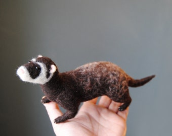 Needle Felted Ferret, Handmade Animal, Pet Sculpture, Pet Memorial - made to order