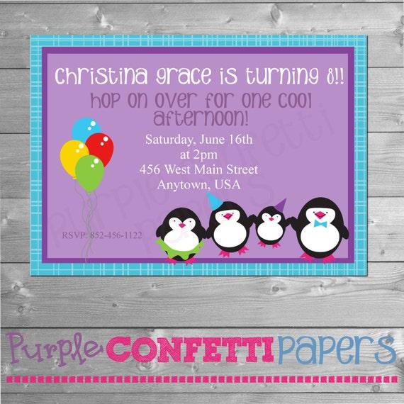 Penguin Birthday Invitation Printable Penguin Invitation Penguin
