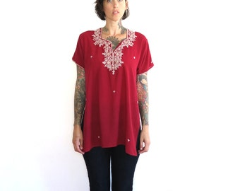 80s vintage embroidered blouse// 80s vintage revived salwar kameez blouse top// maroon shirt embroidered top// small medium