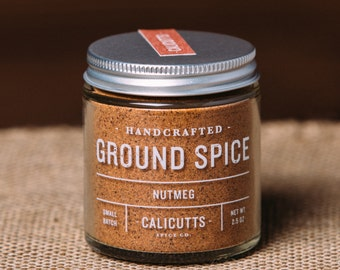 Nutmeg - Handcrafted Ground Spice - 2.5 ounces in Glass Jar, All-Natural and Gluten Free