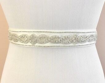 Beaded Bridal Belt, Vintage Wedding Belt, Rhinestone Bridal Sash, Rhinestone Wedding Sash, Belt for Wedding Dress, Rhinestone Belt ~BB-933