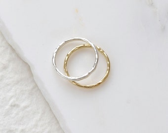 Textured Gold Band Rustic Wedding Ring Raw Gold Ring Nature Ring Gold Wave Ring