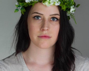 Flower Crown - Bridal Floral Halo - Hair Wreath - Bridesmaid or Festival Flower Crown of vine and white flowers -  DEWDROP