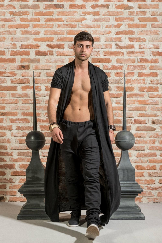 Long black cardigan / Mens kimono cardigan / Black draped mens