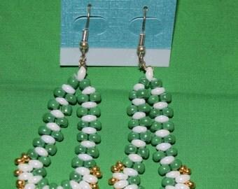Handmade - Green and white beaded earrings