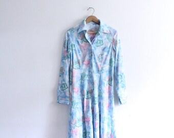 Dreamy Nature Print 70s Lady Dress