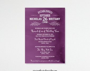 Vow Renewal Invitation, Anniversary, 5th, 15th, 20th, 25th, 35th, 40th, Wedding Invitation, Invite, Post Wedding, Purple, Digital,  V71351