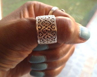Silver Thumb Ring Wide Band Ring Thumb Ring Silver Boho Ring Filigree Ring Adjustable Ring Sterling Silver UK Shop mothers day gift