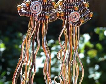 Silver Metal Jellyfish Earrings