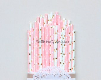 Pink and Gold Foil Star Straws, Twinkle Twinkle Little Star First Birthday Decor, Wish Upon A Star Baby Shower, Moon and Star, Fairy Party