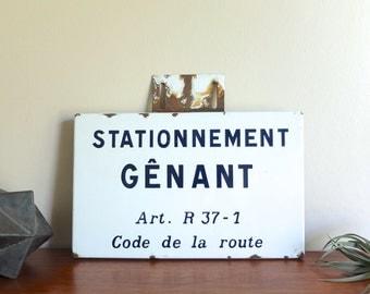 """French vintage enamel wall plaque sign """" Stationnement gênant - Code la route - Art. R 37-1 """""""