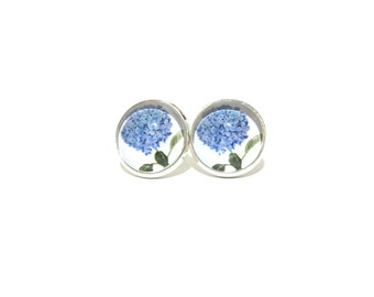Hydrangea earrings, hydrangea studs, hydrangea jewelry, blue hydrangea, flower studs, floral stud earring, clip on Earring, stud earings