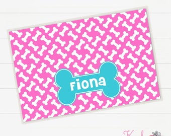 Doggy Bowl Mat Personalized, Dog Placemat, Dinner Mat, Puppy Placemat, Gifts for Pets, Monogrammed, Personalized Pet Gift, Doggy Bone