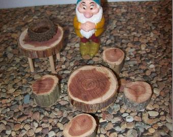 Fairy Garden Table and Chairs set/ fairy table/ miniature table/ fairy accessories/ fantasy garden/cedar slices/ wooden miniature/elf/ faery