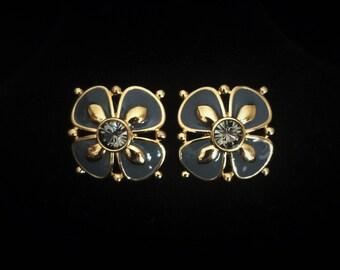 Vintage Enamel and Crystal Floral Post Earrings - Marked Joan Rivers