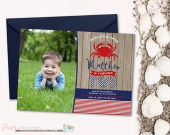 Crab Birthday Invitation, Crab Invitation, Nautical Birthday Invitation, Nautical Invitation, Crabs, Birthday Invitation, Rustic, Wood