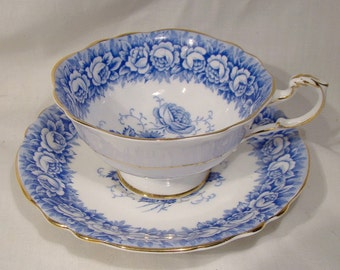 Paragon A720 1 Blue White Roses Tea Cup and Saucer 1950s