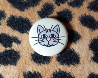 Happy Kitty Cat Pinback Button or Magnet