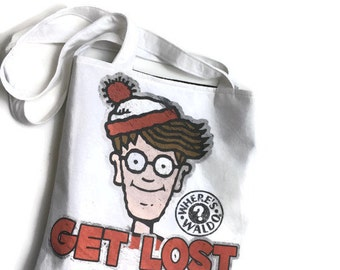 Where's Waldo Tote Bag • Upcycled T-shirt Bag • 90's Accessory • Where's Waldo Tshirt Bag • Where's Waldo Gift