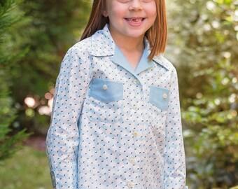WILLOW SHIRT sewing pattern for girls & boys, kids shirt pattern sizes 4 to 14 years digital pattern