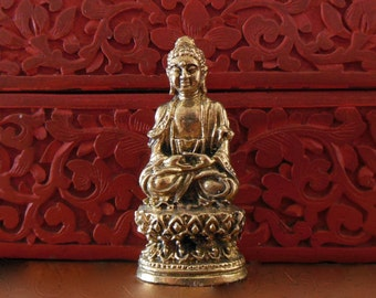 BUDDHA STATUE on Lotus, Tiny brass Deity, seated altar statue, tiny Brass Buddha Sakyamuni Figure, small Bodhisatva statue, Full Lotus