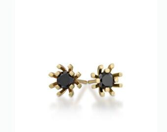 black diamond earrings, small diamond studs, tiny gold stud earrings, black diamond studs, yellow gold earrings, diamond studs