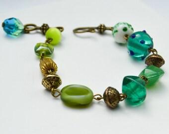 Bracelet Bohemian glass bead - lampwork bracelet - bracelet boho - Gypsy - gypsy - hippie - Bracelet Murano glass - glass bracelet czech