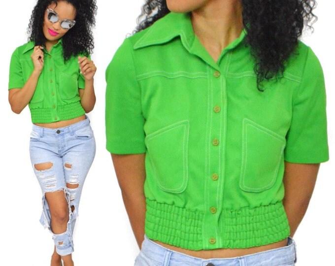 Vintage 70s Jonathan Logan Green Little Shirt Top