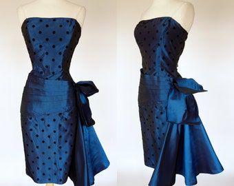 1980s strapless wiggle dress, metallic blue taffeta, black velvet polka dot, waist sash and 3D bow sash, Nadine, Small