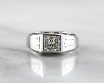 The Original Gentleman: Diamond Ring with Crisp Lines in Fine White Gold  4ZTTMH-R