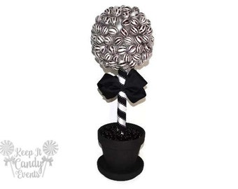 Black Lollipop Topiary, Black Candy Topiary, Black Wedding Centerpiece,Black Candy Buffet, Black Party Decorations, Halloween Wedding Ideas
