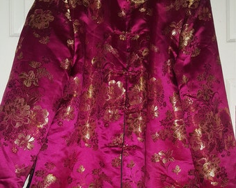 Vintage Chinese Floral Embroidered Brocade Pink - Gold - Black