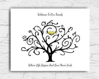 Baby Shower Guest Book Alternative, Thumbprint Tree Guestbook, Fingerprint Tree, Gift, Welcome To Our Family, Instant Download File 11x14""