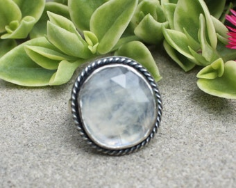 Flashy Rainbow Moonstone Sterling Silver Ring Boho JMK size 8.75