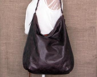 Handmade dark brown leather hobo bag